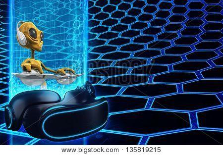 Virtual Reality VR Alien DJ 3D Illustration