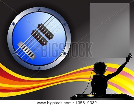 Guitar Border Female DJ and Copy Space Background with Wave