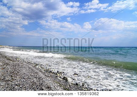Aegean Sea . Coast of the Aegean Sea on a Greece