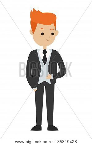 flat design red hair man wearing formal suit with tie vector illustration