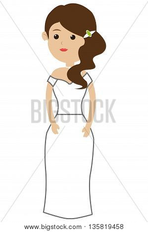 flat design of caucasian bride with hair to the side icon vector illustration