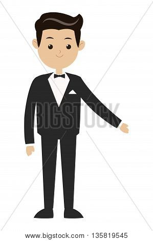flat design black hair man in tuxedo with bowtie vector illustration
