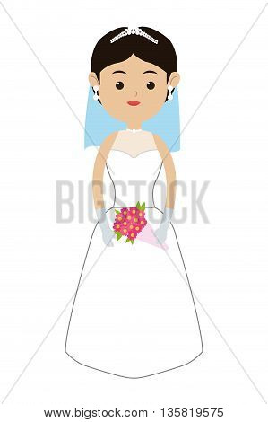 flat design of caucasian bride wearing tiara veil and bouquet icon vector illustration