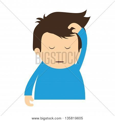 Resting and sleep concept represented by boy sleeping icon. isolated and flat illustration