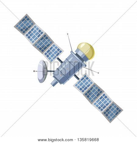 Earth satellite sputnik icon in cartoon style on a white background