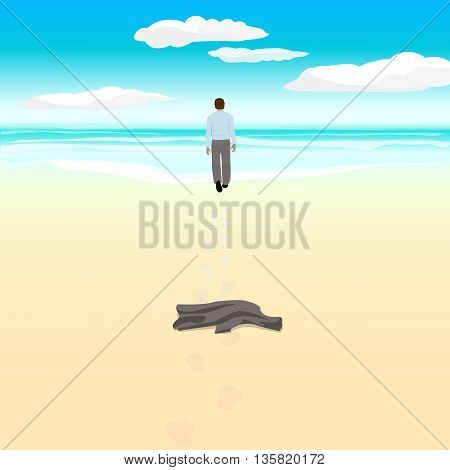 Beach. Man goes to the sea on the beach. Vector illustration.