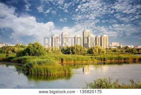 Vacaresti Nature Park - Delta between the blocks with skyscrapers in the background in Bucharest Romania.