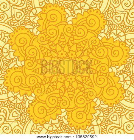 Abstract ornamental sun background. Art vector illustration
