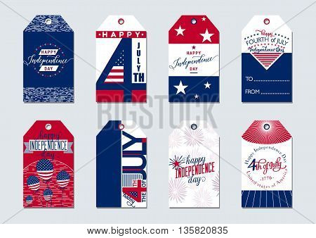 Vector illustration of greeting Usa Independence Day 4th july gift tags. Simple creative style felicitation label for american presents with star, flag, typography, balloon, sign. Print, web application