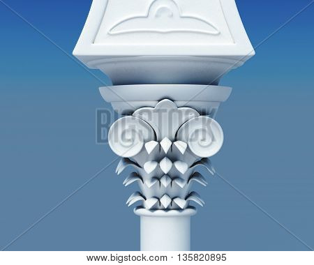 Capital of the column close up. 3d image on a blue background.
