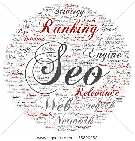 Concept or conceptual search engine optimization, seo abstract round word cloud isolated on background
