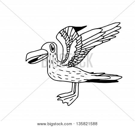 Doodle seagull drawing linearts only - stock vector