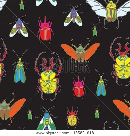 Vector Seamless Pattern With Color Beetles On Black Background