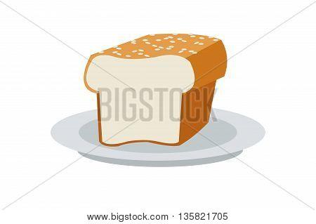 colored simple flat design bread icon vector illustration