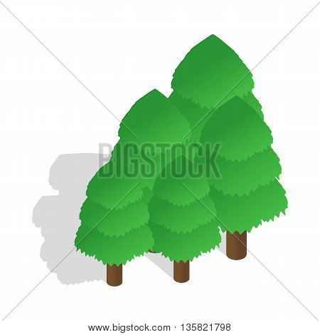 Trees icon in isometric 3d style on a white background