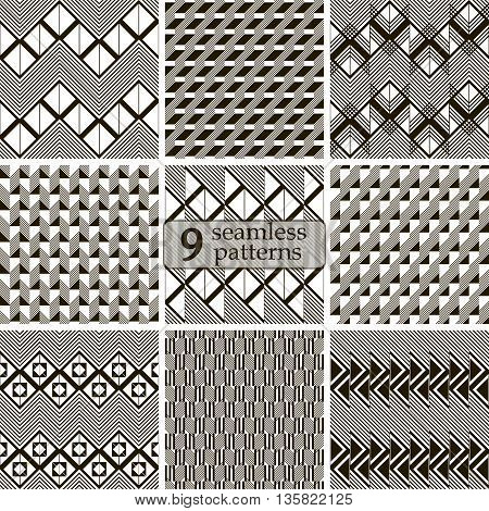 Set of 9 black and white seamless patterns in modern style. Abstract geometric ornaments with zigzags, squares, triangles, diagonal lines. Vector illustration for stylish creative design