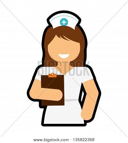 Medical and Health care concept represented by nurse icon. isolated and flat illustration