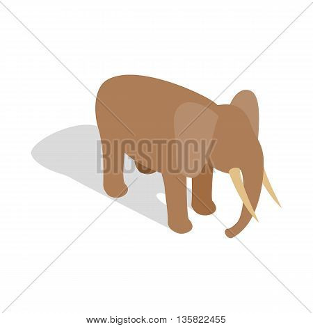 Elephant icon in isometric 3d style on a white background