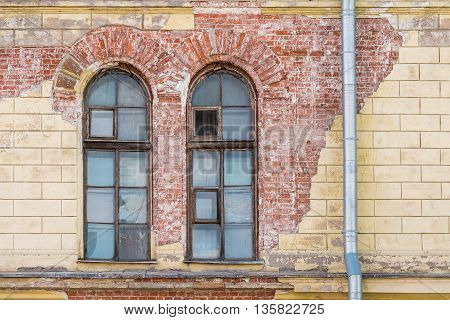 Two windows on facade of Petersburg Art XX-XXI Centuries Museum St. Petersburg Russia