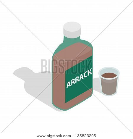 Bottle of arrack icon in isometric 3d style on a white background