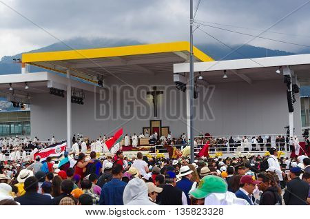 QUITO, ECUADOR - JULY 7, 2015: Big cross in the middle of the stage, pope Francisco mass.