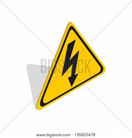 High voltage sign icon in isometric 3d style on a white background