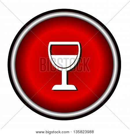 Vector illustration of wine glass icon on white background