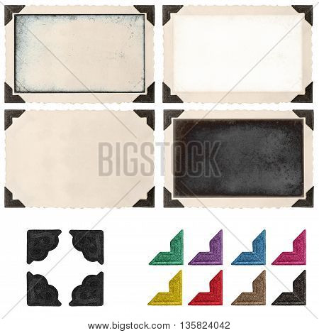 Retro photo frame with corner and empty field for your picture isolated on white background