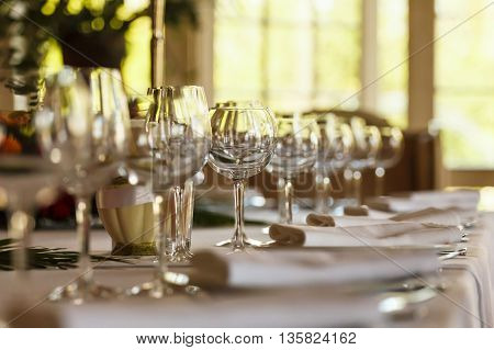 Serving table prepared for event party or wedding. Soft focus selective focus