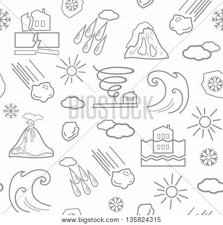 Vector background with linear icons of natural disasters and the weather. Gray image on a white background.