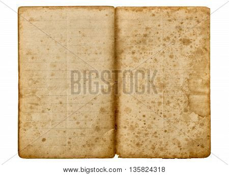 Old school exercise book open isolated on white background. Aged paper texture