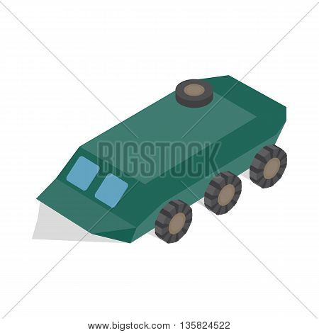 Armoured troop carrier wheeled icon in isometric 3d style on a white background