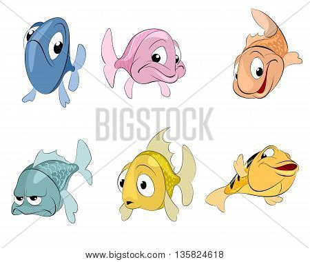 Vector illustration of a six fishes set