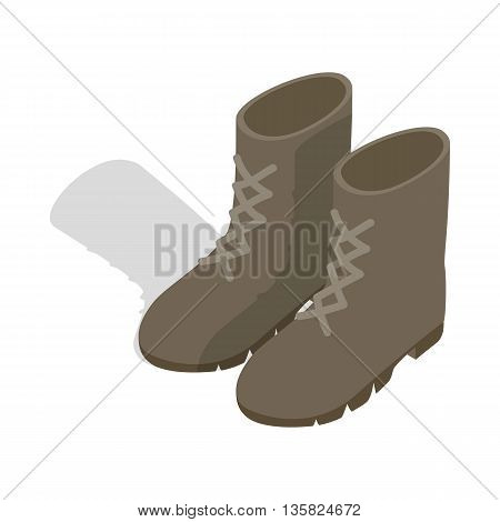 Combat military boots icon in isometric 3d style on a white background