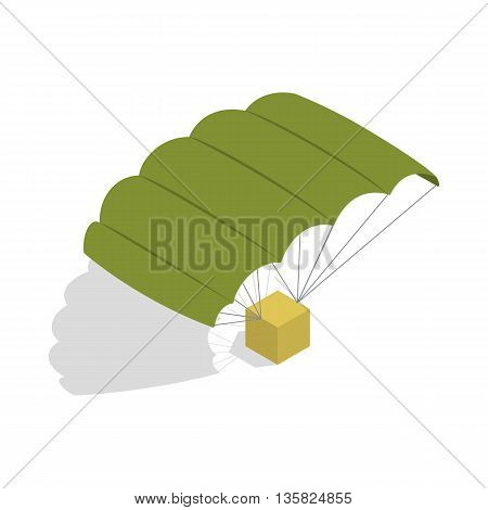 Military parachute icon in isometric 3d style