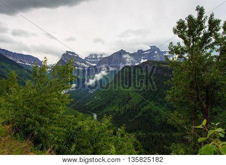Landscape of a peak in Glacier National Park Montana.