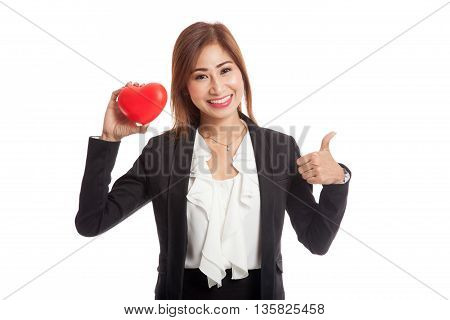 Asian Business Woman Thumbs Up With Red Heart