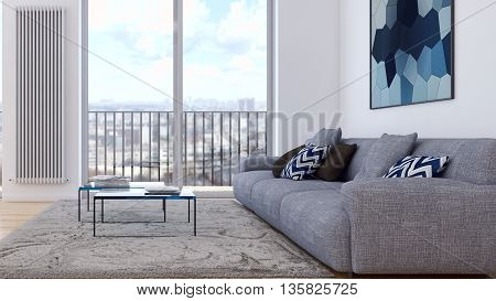living room sofa armchair coffe table 3d render