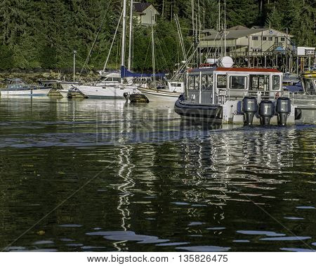 Juneau, Alaska USA - July 21, 2012.  Various Boats Docked Outside Juneau Alaska On Late Aftertoon #2