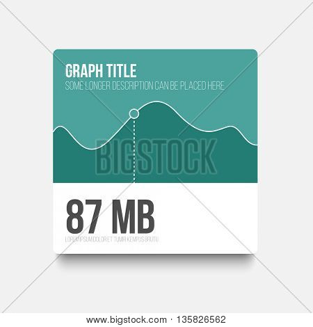 Vector flat user interface (UI) infographic template with simple minimalistic graph - teal version