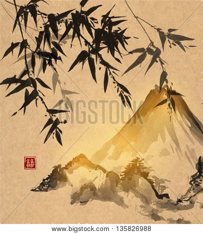 Bamboo trees and Fuji mountain on vintage background. Traditional Japanese ink painting sumi-e. Contains hieroglyph - double luck.