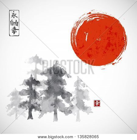 Forest trees and red sun hand drawn with ink in traditional Japanese style sumi-e. Contains hieroglyphs - eternity, freedom, happiness