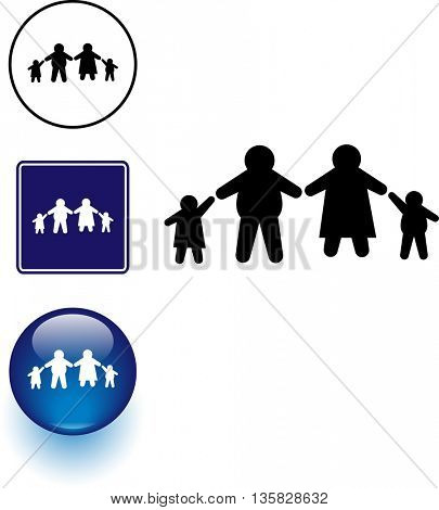 overweight family symbol sign and button