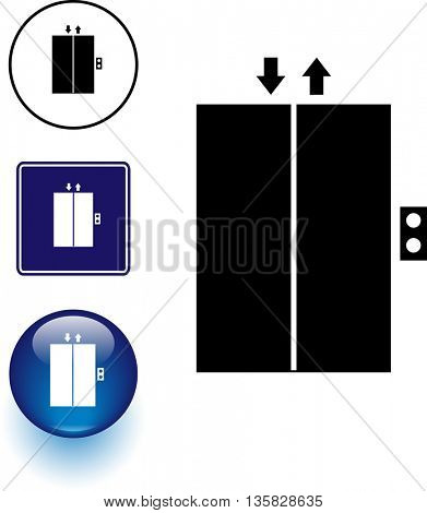 elevator symbol sign and button