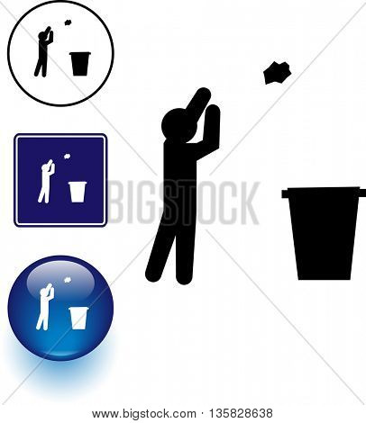 trash throwing symbol sign and button