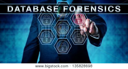 Investigator touching DATABASE FORENSICS on an interactive virtual control monitor. Forensic science metaphor and law enforcement concept for forensically information gathering in digital data sets.