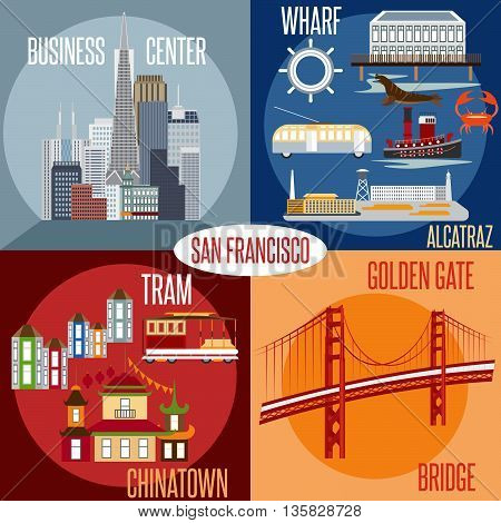 Flat Design Vectors Of Landmarks Of San Francisco California,usa . Wharf , Alcatraz,business Center