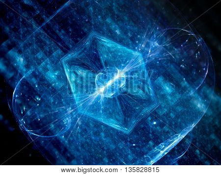 Futuristic blue glowing hardware in space new technology computer generated abstract background