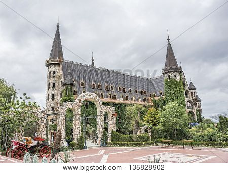 BURGAS, RAVADINOVO, BULGARIA - MAY 4: Walls of the castle and flower garden, on May 4, 2016 in Burgas, Ravadinovo, Bulgaria.