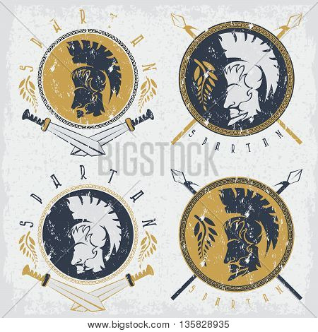 Spartan Warrior With Spears ,swords And Shield Grunge Vintage Labels Vector Set